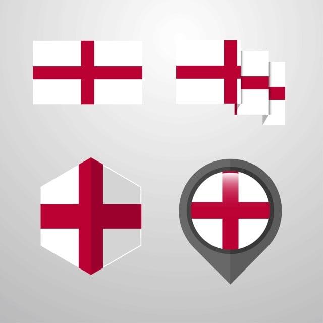 Flag And Emblem >> England Flag Design Set Vector Banner Design Emblem Png