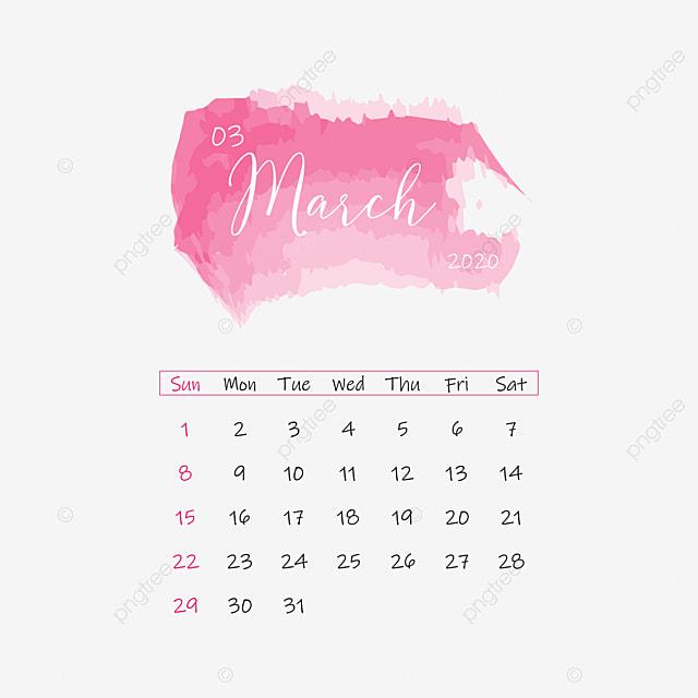 March 2020 Calendar Clipart Vector Png Element ...