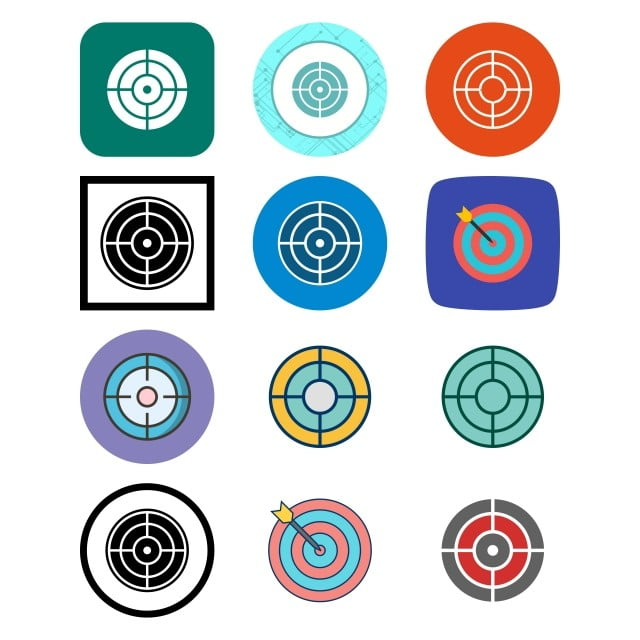Set Of 12 Target Icons On White Background Vector Isolated