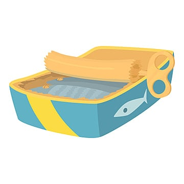 Colorful cartoon canned fish. simple supply for domestic animal. cat food  vector illustration for icon, sticker, patch, label