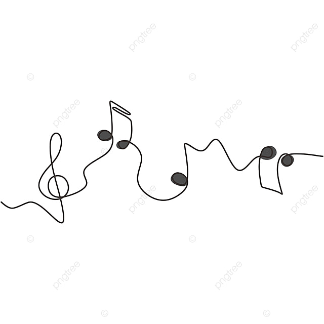 One Line Drawing Of Music Notes Isolated Vector Object