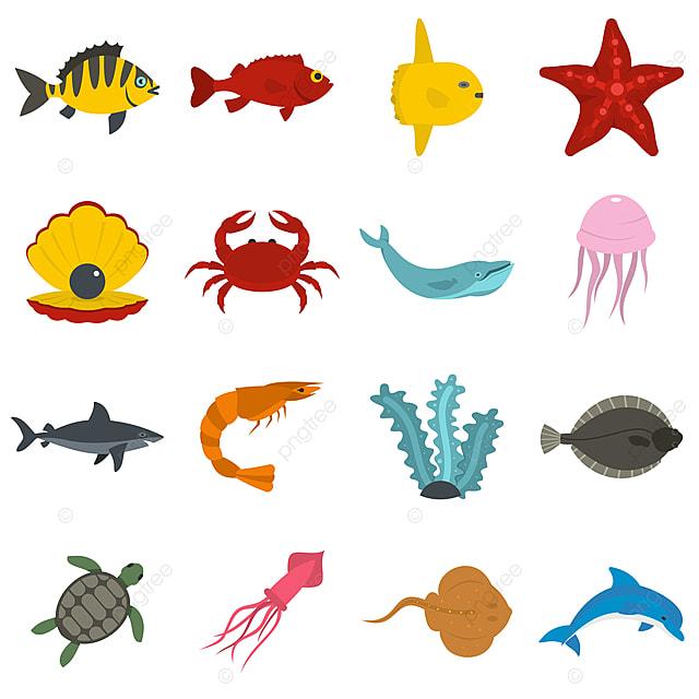 Gambar Ikon Haiwan Laut Yang Ditetapkan Dalam Gaya Rata Laut Haiwan Ikon Png Dan Vektor Untuk Muat Turun Percuma