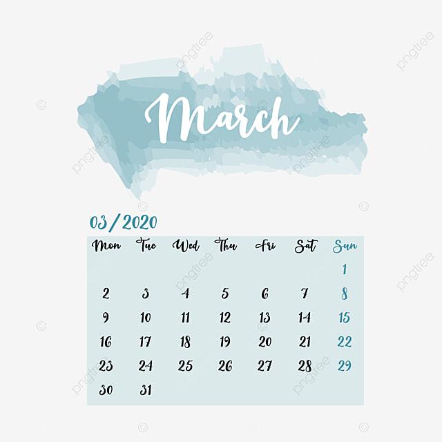 Calendrier 2020 Top 14.March Calendar 2020 Clipart Vector Png Element Calendrier