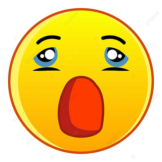 Emoticone Jaune Avec Le Style De Bande Dessinee Icone Bouche Ouverte Visage Personnage Crier Png Et Vecteur Pour Telechargement Gratuit