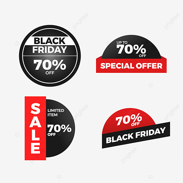 Black Friday Sale Sticker Label Set Special Offer Discount Friday Black Sale Png And Vector With Transparent Background For Free Download