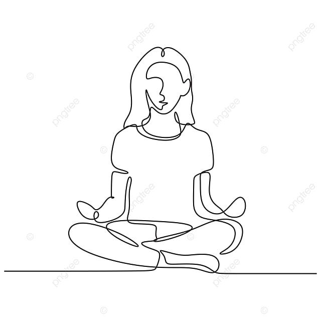 Dessin Au Trait Continu D Une Fille Faisant Du Yoga Assis Dans La Relaxation De La