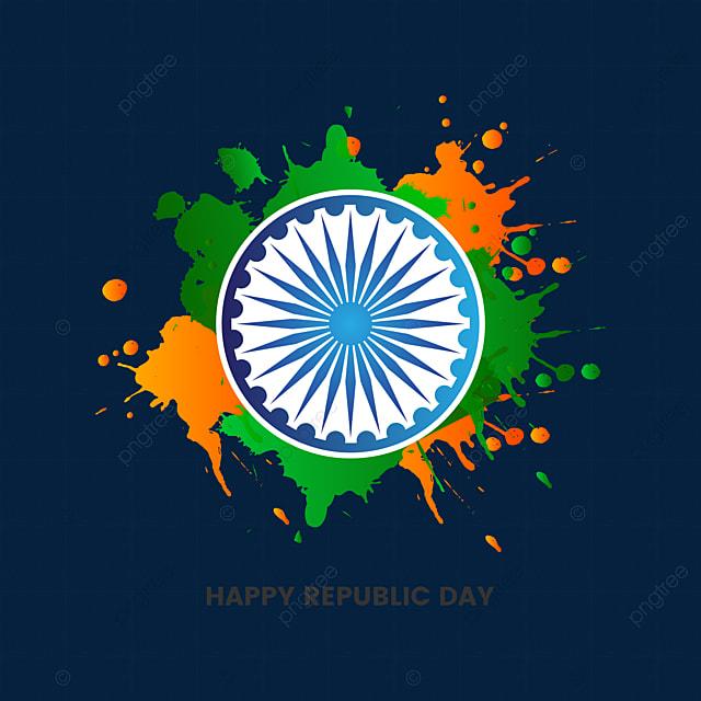 Republic Day Of India Illustration With Brush Splash Vector