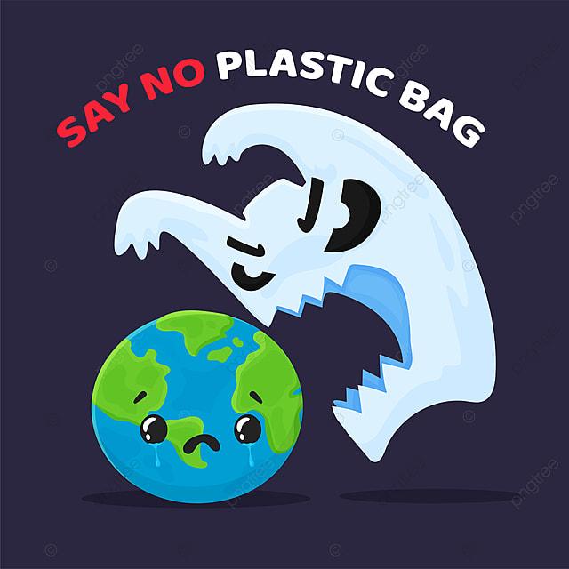 vektor kartun sampah plastik yang melukai dunia dan kampanye untuk berhenti menggunakan kantong plastik agitasi tas larangan png dan vektor dengan latar belakang transparan untuk unduh gratis vektor kartun sampah plastik yang