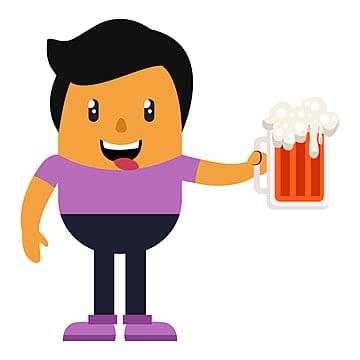 мужчина держит пиво иллюстрации вектор на белом фоне, менеджер, отдельные, вектор PNG ресурс рисунок и векторное изображение