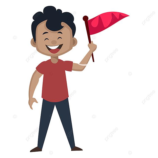 Budak Lelaki Memegang Vektor Ilustrasi Bendera Pada Latar Belakang Putih Watak Logo Perasaan Png Dan Vektor Untuk Muat Turun Percuma