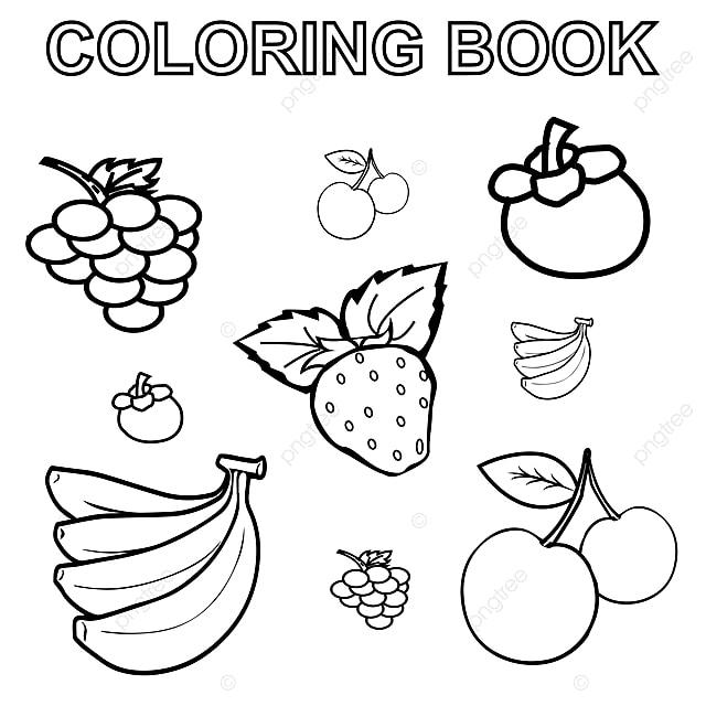 Gambar Buku Pewarna Dengan Gambar Buah Buahan Imej Ilustrasi Game Anggur Karya Seni Png Dan Vektor Untuk Muat Turun Percuma
