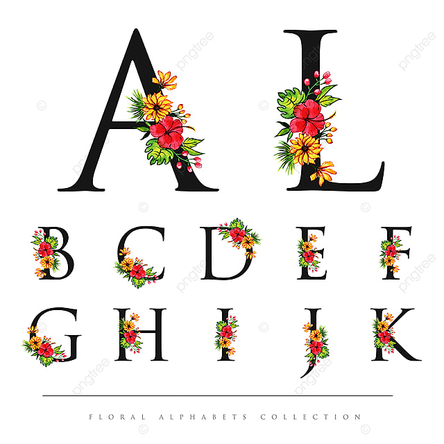 Watercolor Floral Alphabet Collection Text Effect EPS For