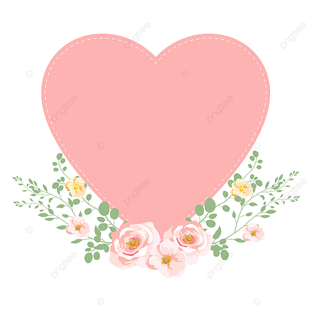 pink heart and flowers for valentine decoration, vintage, retro, spring png  and vector with transparent background for free download  pngtree