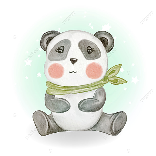 Adorable Cute Kawaii Baby Panda Watercolor Illustration Adorable Happy Cartoon Png And Vector With Transparent Background For Free Download
