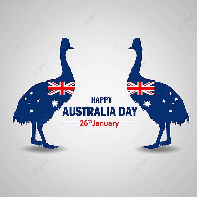 Gambar Salam Australia Dalam Gaya Datar Dengan Siluet Kasuari Dan Bendera Australia Perayaan Bendera Liburan Png Dan Vektor Dengan Latar Belakang Transparan Untuk Unduh Gratis