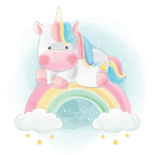 Cute Unicorn Sitting On Rainbow, Baby, Animal, Cute PNG ...