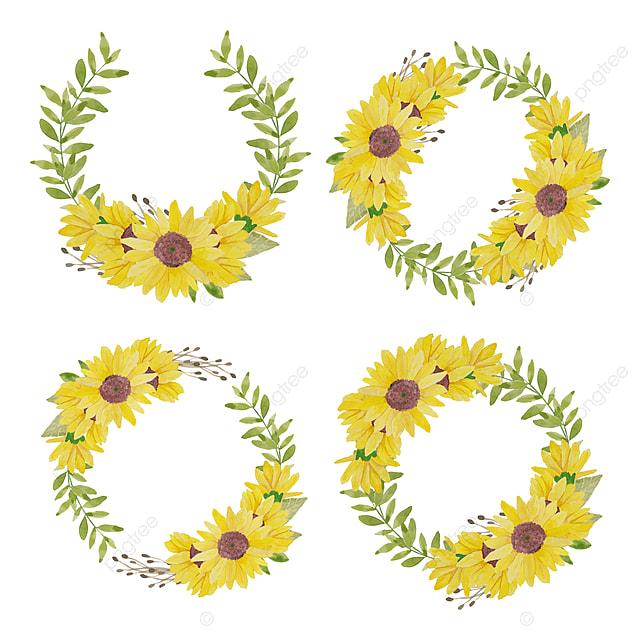 Cat Air Yang Dilukis Dengan Tangan Ilustrasi Lingkaran Bunga Matahari Kuning Dekorasi Bunga Matahari Png Dan Vektor Dengan Latar Belakang Transparan Untuk Unduh Gratis