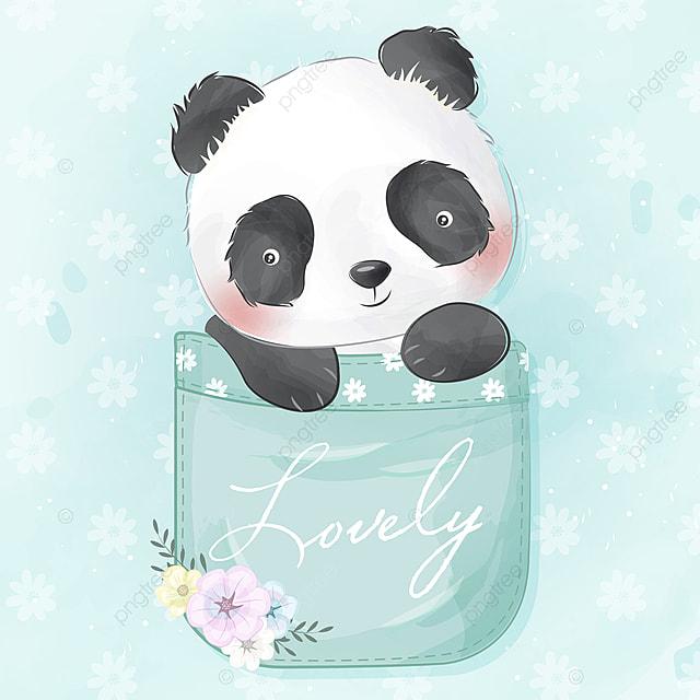 Mignon Panda Assis A L Interieur De La Poche Clipart Panda Clipart Panda Aquarelle Png Et Vecteur Pour Telechargement Gratuit