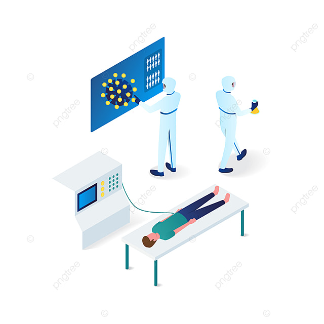 doctors trying to identify a corona virus from a man isometric illustration