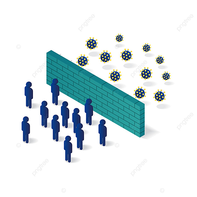 people isolated from corona virus with wall protection 3d isometric illustration