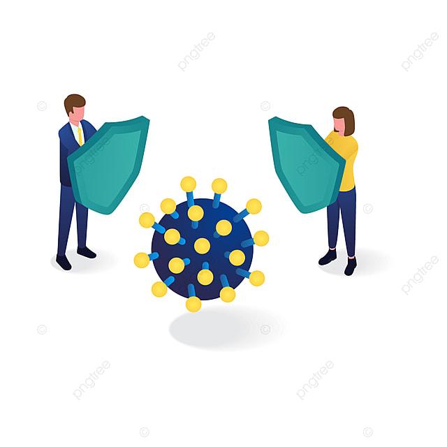 people use shield to protect from coronavirus isometric illustration
