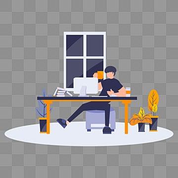 Плоский мультфильм иллюстрации человек делает работу в офисе дома, офисный клипарт, Квартира, Работа PNG ресурс рисунок и векторное изображение