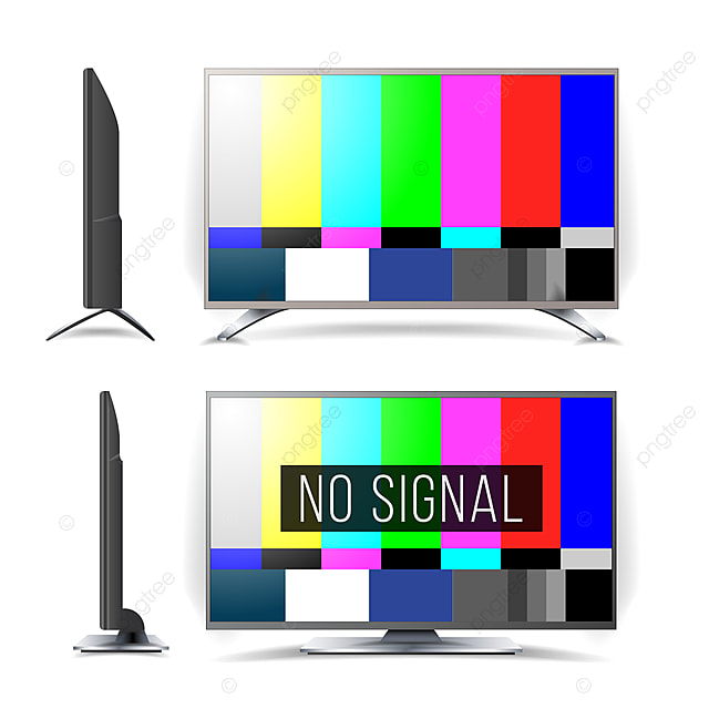 No Signal Tv Test Pattern Vector Lcd Monitor Flat Screen