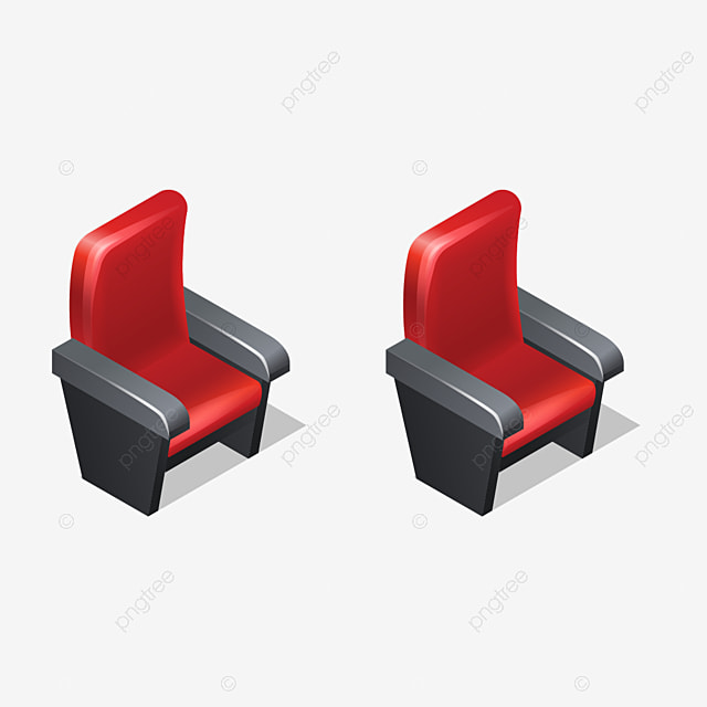 icones isometriques de fauteuil rouge