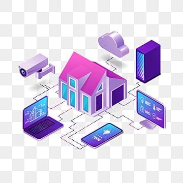 умный дом изометрической интернет вещей концепции, интернет клипарт, Дом, умный PNG ресурс рисунок и векторное изображение
