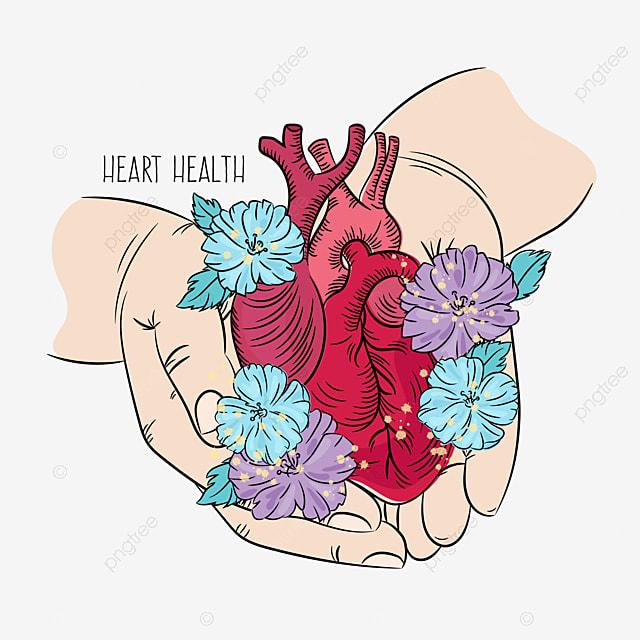 heart care health medicine lifestyle love life holiday floral vector illustration set