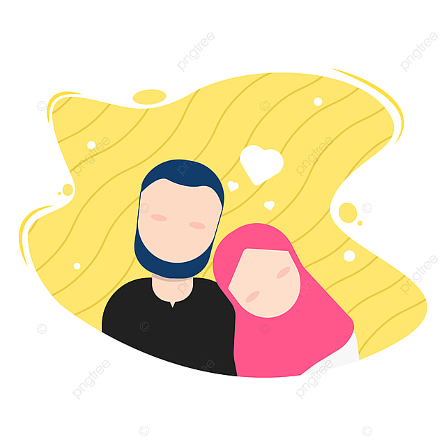 Illustration Of Romantic Islamic Muslim Couple Falling In Hijab Young Adult Png And Vector With Transparent Background For Free Download