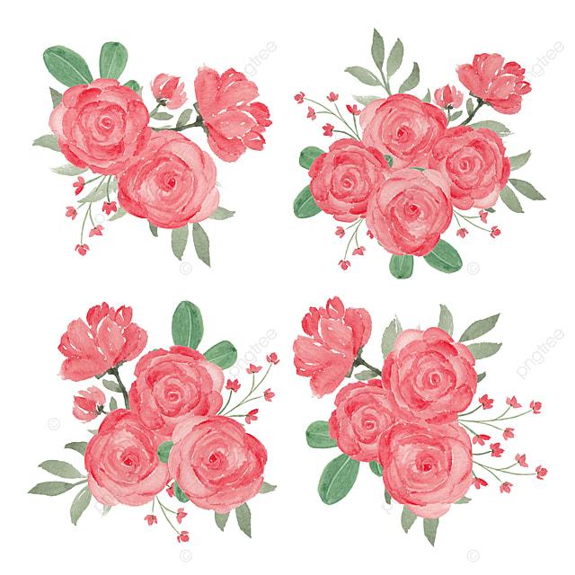 Buket Bunga Mawar Merah Dalam Gaya Cat Air Vintage Bunga Ilustrasi Png Dan Vektor Dengan Latar Belakang Transparan Untuk Unduh Gratis