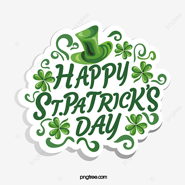 green st patricks day shamrock text logo