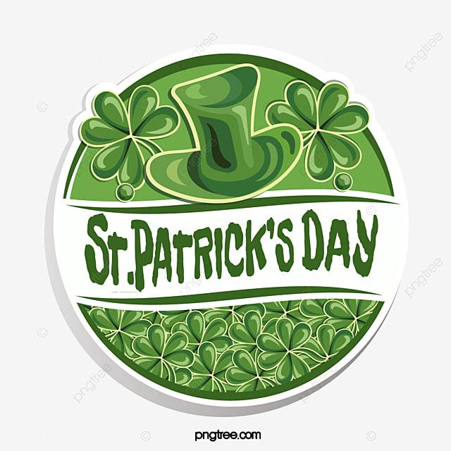 green st patricks day shamrock vintage logo