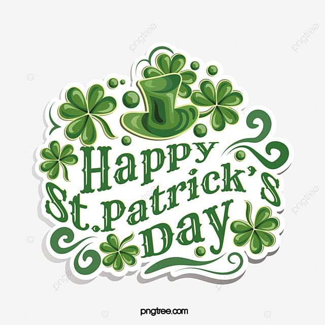 shamrock st patricks day green hat logo