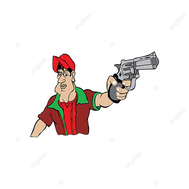 Gambar Ilustrasi Kartun Seorang Lelaki Memegang Senapang Di Tangan Amerika Lencana Bandit Png Dan Vektor Untuk Muat Turun Percuma