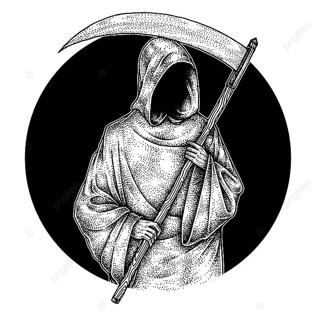 Creepy Grim Reaper Hand Drawn Illustration Pointillism
