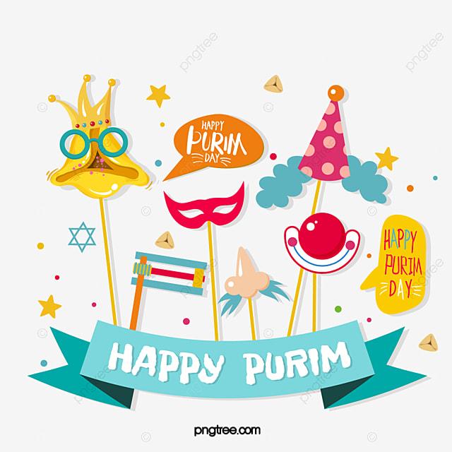 purim cartoon clown party hat banner