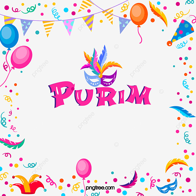 purim purim festival cartoon border balloon flag feather