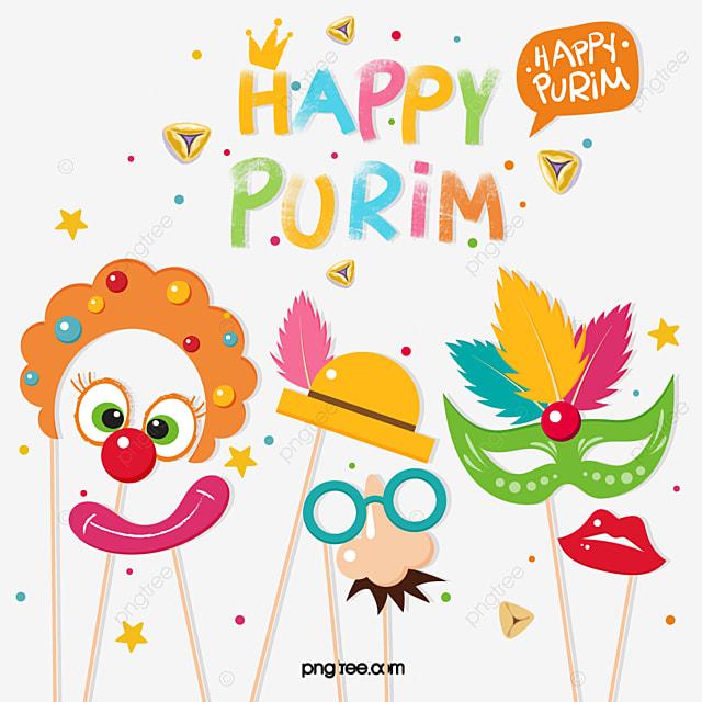 purim purim festival cartoon clown mask feather party