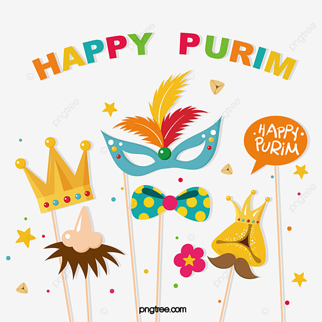 purim purim festival mask party crown decoration illustration