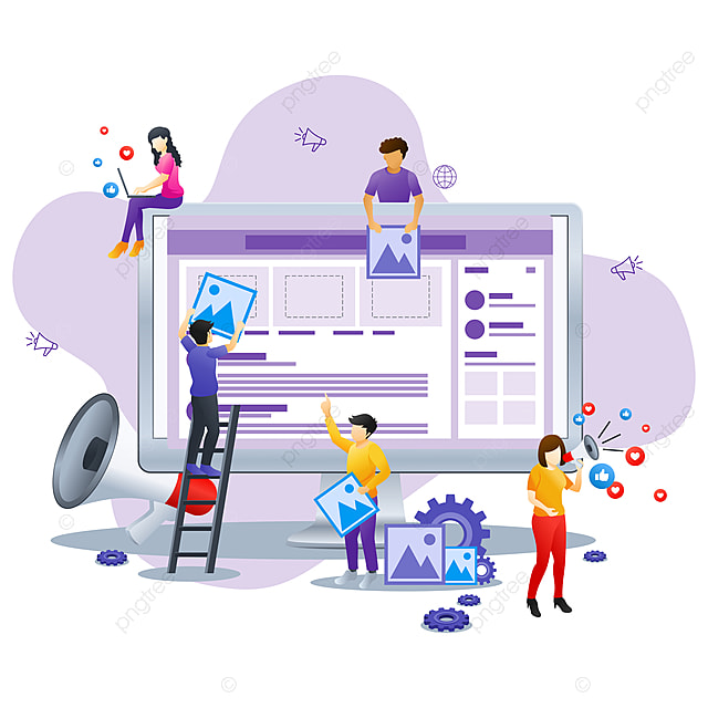 Modern Flat Design Concept Of Social Media Marketing Can Use For Business Content Strategy Analysis Mobile App Landing Page Web Design Template Flat Vector Illustration Vabstract Advertising App Png And Vector With