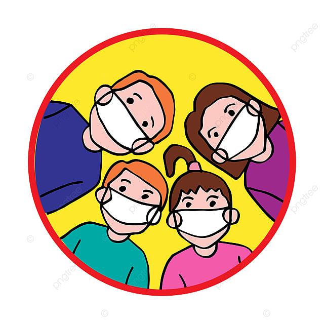 Famille De Dessin Animé Dans Des Masques De Protection ...