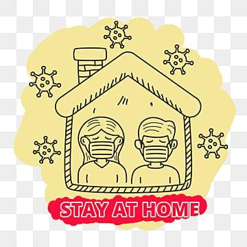 оставайтесь дома чтобы предотвратить вирус короны векторная иллюстрация в милом стиле рисованной, останься дома, жилой дом, Дом PNG ресурс рисунок и векторное изображение