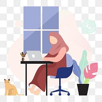 девушка хиджаб работа из дома вектор, араб, арабский, арабский PNG ресурс рисунок и векторное изображение