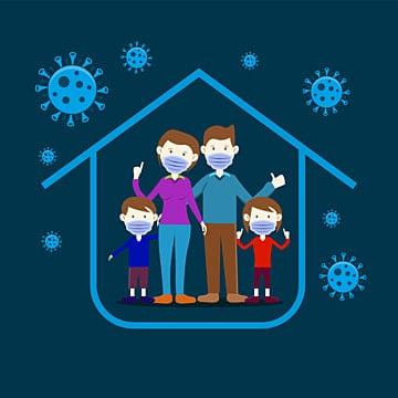 семья остается дома иллюстрация чтобы предотвратить чуму covid 19 векторное изображение, семейный клипарт, чума, Крышка-19 PNG ресурс рисунок и векторное изображение