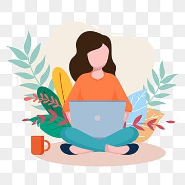 женщины с ноутбуком работая от дома во время пандемии ncov 2019 коронавирусной вспышки концепции плоской иллюстрации, Доктор клипарт, значки для ноутбуков, значки активности PNG ресурс рисунок и векторное изображение