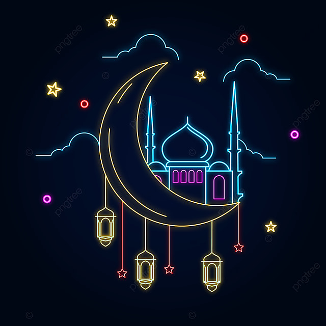 Ramadan Kareem With Mosque And Crescent Neon Light Sign Effect Design Light Icons Sign Icons Neon Icons Png And Vector With Transparent Background For Free Download