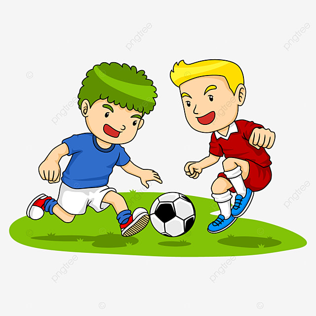 Cartoon Graphic About Two Soccer Boy Playing Football About Sport Concept Kid Drawing Soccer Ball Png And Vector With Transparent Background For Free Download