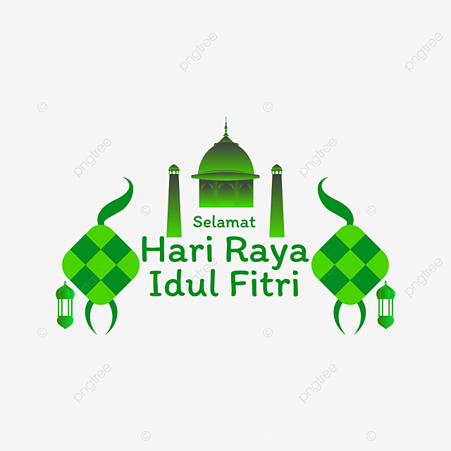 Lettering Selamat Hari Raya Idul Fitri Happy Eid Mubarak